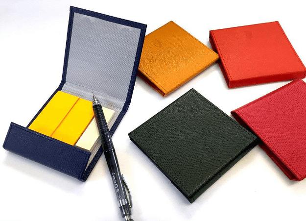 本革製!10種類のカラーから選べるおしゃれな付箋(ポストイット)ケース