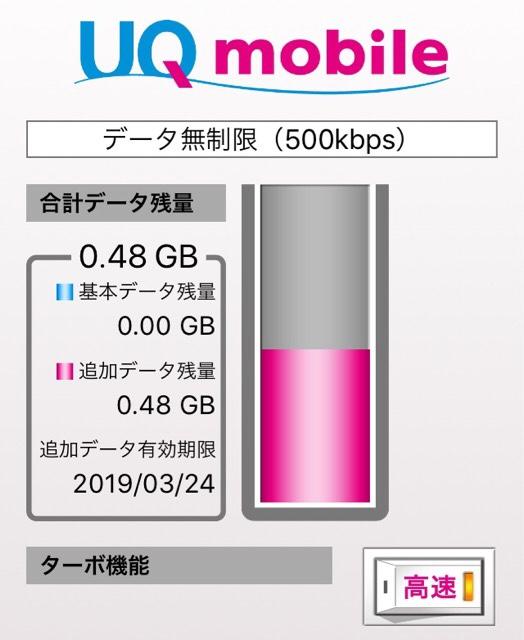UQモバイルアプリの高速/節約モード切替画面